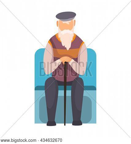 Old man in subway underground train car. Public transport, urban underground tube mass transit with sitting passenger. Concept design