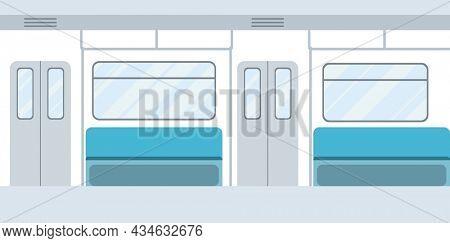 Subway underground train car interior. Public transport on urban underground tube mass transit passengers. Empty subway concept design