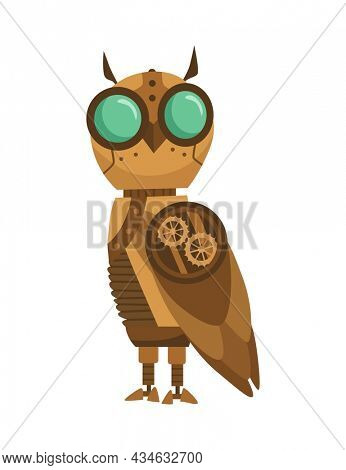 Steampunk fashion technology, fantasy vintage illustration with cartoon owl robot. Steam punk invention. Character with mechanical element