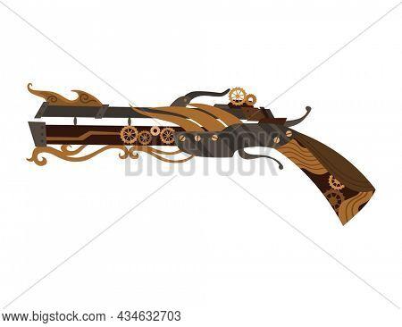 Steampunk technology, fantasy vintage illustration with cartoon pistol. Steam punk invention. Gun with mechanical elements