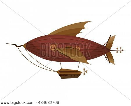 Steampunk technology, fantasy vintage illustration with cartoon mechanical vehicle. Steam punk invention. Airship with mechanical element
