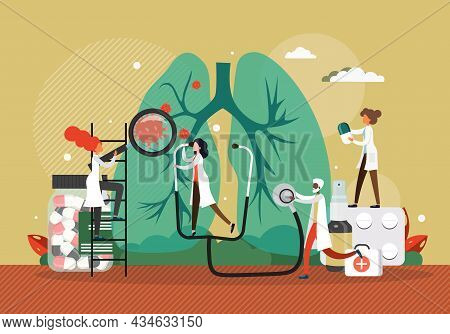 Doctors Inspecting Patient Lungs, Vector Illustration. Respiratory Disease Diagnosis, Treatment. Pul