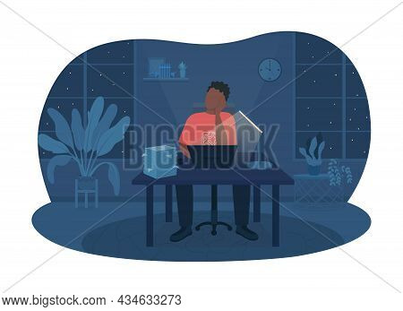 Working Late At Night 2d Vector Isolated Illustration. Man Sitting At Desk With Workload. Stack Of D