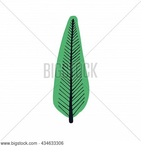 Tree Drawn In Simple Primitive Doodle Style. Childish Drawing Of Poplar, Tall Forest Plant With Crow
