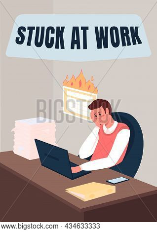 Professional Burnout Poster Flat Vector Template. Man Stuck At Work. Brochure, Booklet One Page Conc