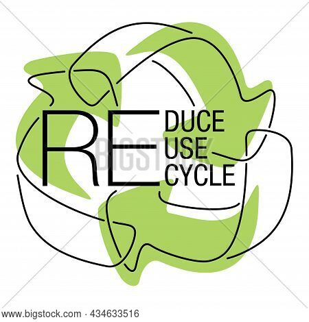 Reduce, Reuse, Recycle - Slogan Of Environment Saving Program In Eco-friendly Decoration. Isolatred