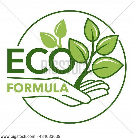 Eco Formula Sticker - Eco-friendly Badge In Two-color Rounded Decoration - For Natural Food And Cosm