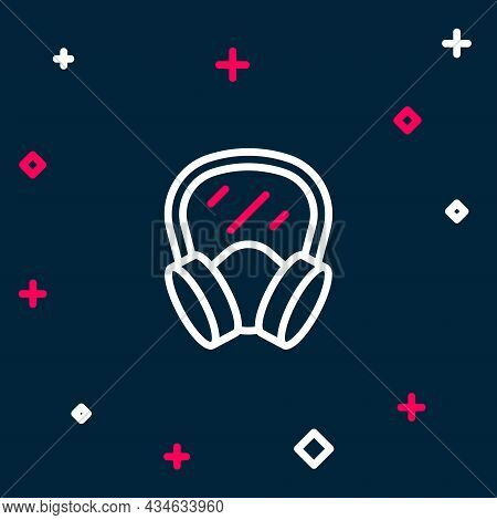 Line Gas Mask Icon Isolated On Blue Background. Respirator Sign. Colorful Outline Concept. Vector