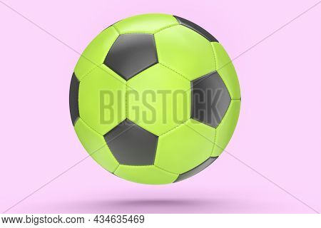 Green Soccer Or Football Ball Isolated On Pink Background. 3d Rendering Of Sport Accessories For Tea