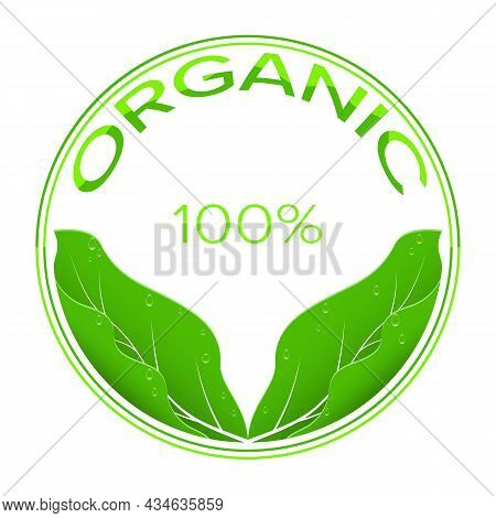 Organic Green Leaves With Water Drops Logo Vector Illustration