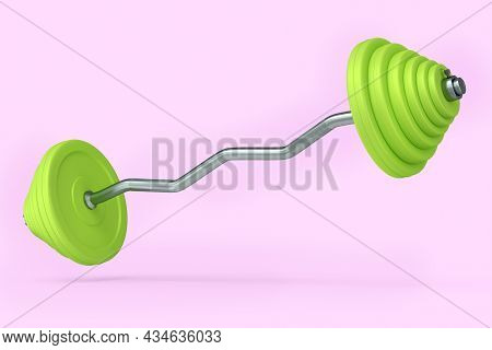 Abstract Metal Barbell With Green Disks Shaped Handle Isolated On Pink Background. 3d Rendering Of S
