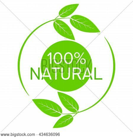 Fresh Green Leaves With Water Drops Logo Vector Illustration