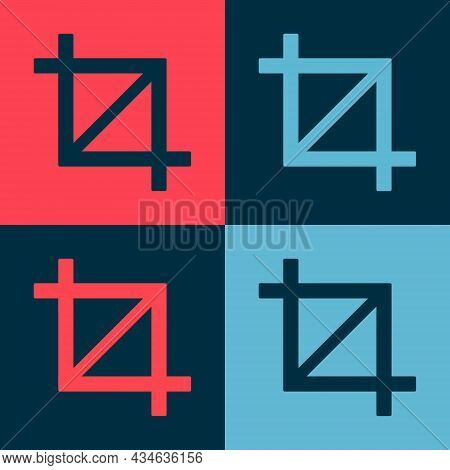 Pop Art Picture Crop Photo Icon Isolated On Color Background. Vector