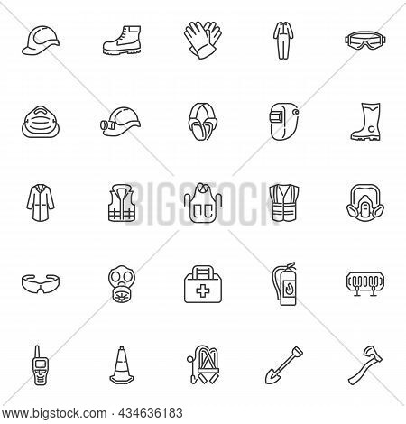 Safety Equipment Line Icons Set. Mandatory Linear Style Symbols Collection, Outline Signs Pack. Safe