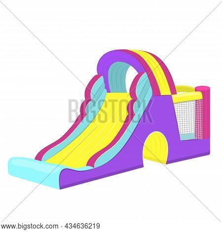 Vector Illustration Of Inflatable Slides Isolated On White Background.