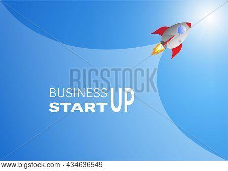 Rocket Launch, Business Start Up Concept Vector Illustration