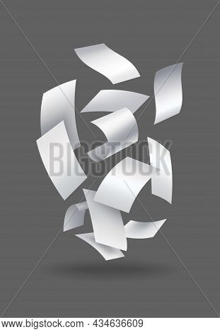 Realistic Falling Paper Sheets. Set Of Flying Curved Leaves Of Paper. Vector Loose Soar Of Notes Wit