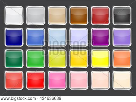 Multicolored Glossy Square Button With Silver Frame Vector Illustration