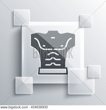 Grey Bodybuilder Showing His Muscles Icon Isolated On Grey Background. Fit Fitness Strength Health H