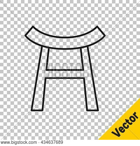 Black Line Japan Gate Icon Isolated On Transparent Background. Torii Gate Sign. Japanese Traditional