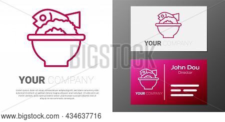 Logotype Line Served Fish On A Bowl Icon Isolated On White Background. Logo Design Template Element.