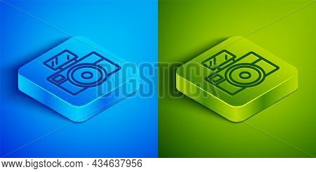 Isometric Line Photo Camera With Lighting Flash Icon Isolated On Blue And Green Background. Foto Cam
