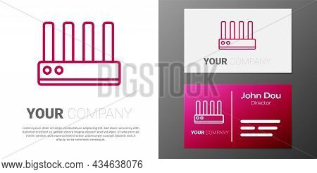 Logotype Line Router And Wi-fi Signal Icon Isolated On White Background. Wireless Ethernet Modem Rou
