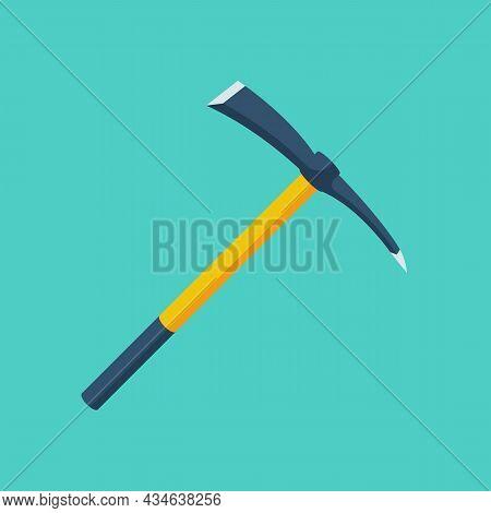 Pickax Cartoon Iron. Mining Tools Element. Extraction Of Precious Stones And Money. Monetary Mine Ax