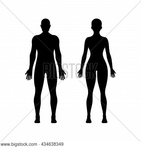 Black Silhouette Of Young Woman And Man. Perfect Figure Of Person. Pictogram Female And Male. Glyph