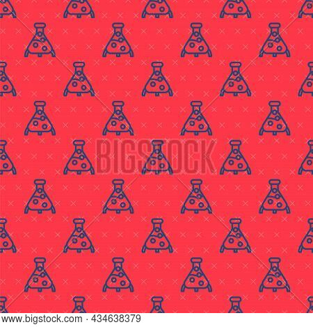 Blue Line Test Tube And Flask Chemical Laboratory Test Icon Isolated Seamless Pattern On Red Backgro