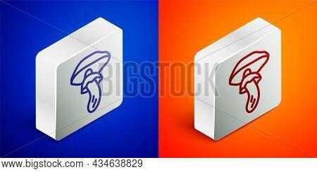 Isometric Line Psilocybin Mushroom Icon Isolated On Blue And Orange Background. Psychedelic Hallucin