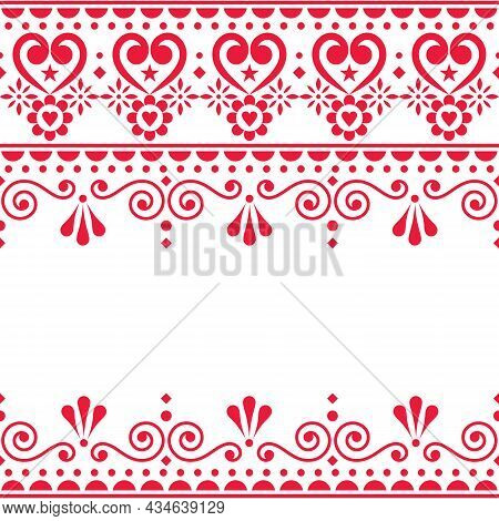 Scandinavian Vector Greeting Card Or Textle, Fabric Print Design - Traditional Seamless Embroidery F