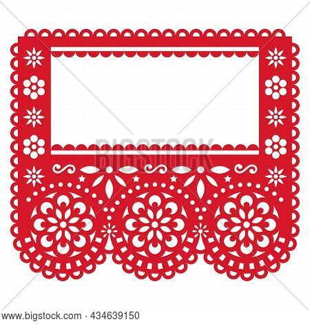 Papel Picado Party Garland Decoration - Vector Template Design With Empty Space For Text, Red Mexica