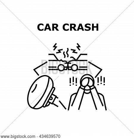 Car Crash Accident Vector Icon Concept. Car Crash Accident, Damaged Vehicle And Air Bag Protective S