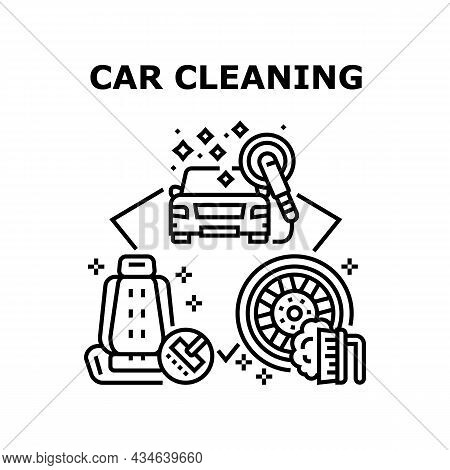 Car Cleaning Service Vector Icon Concept. Car Cleaning Service For Washing And Polishing Vehicle Bod