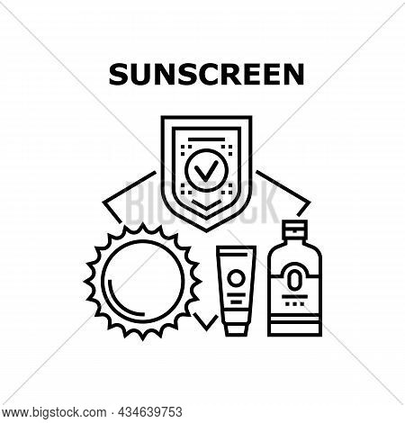 Sunscreen Cream Vector Icon Concept. Sunscreen Cream Bottle And Tube Skin Protection Treatment From