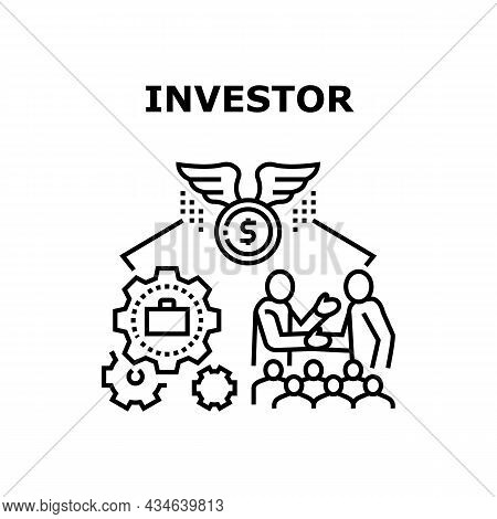 Investor Businessman Vector Icon Concept. Investor Businessman Searching Successful Deal For Earning