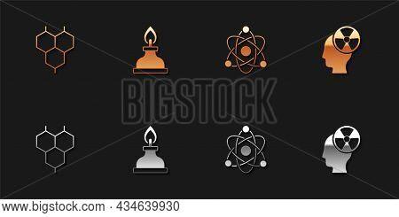 Set Chemical Formula, Alcohol Spirit Burner, Atom And Head And Radiation Symbol Icon. Vector