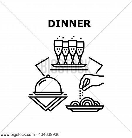 Dinner Enjoyment Vector Icon Concept. Dinner Enjoyment Client In Restaurant, Drinking Champagne Alco