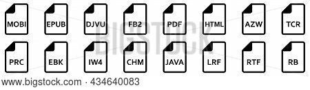 Ebook File Format Icons. Various Ebook Formats Files. Set Of Linear Icons. Vector Illustration.