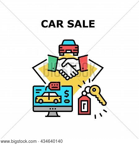 Car Sale Dealership Vector Icon Concept. Customer Choosing Automobile Online On Computer, Buying Veh