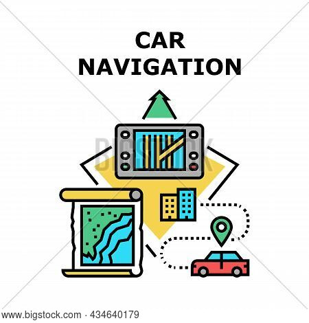 Car Navigation Device Vector Icon Concept. Car Navigation Device For Searching Road Way, Automobile