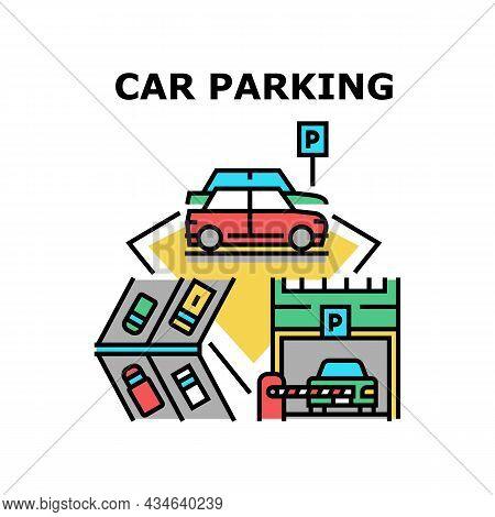 Car Parking Garage Vector Icon Concept. Underground And Outside Car Parking Garage, Barrier Entrance