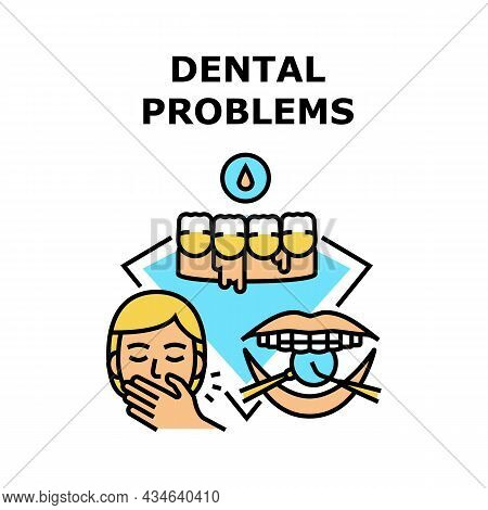Dental Problems Vector Icon Concept. Human With Dental Problems And Bad Breath, Gum Inflammation And