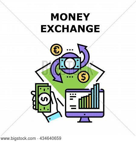Money Exchange Vector Icon Concept. Money Exchange Internet Online Currency Service. Market Research