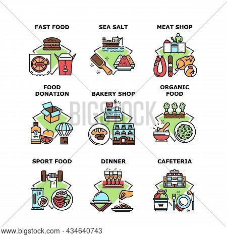 Food Cafeteria Set Icons Vector Illustrations. Fast Food And Organic Nutrition, Bakery And Butcher M