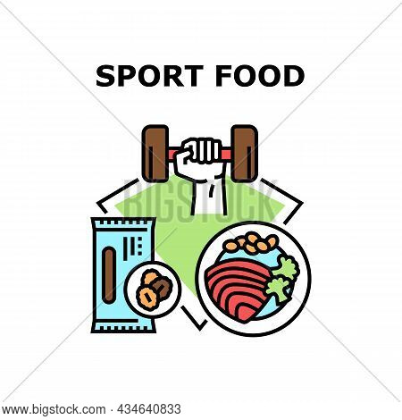 Sport Bio Food Vector Icon Concept. Sport Bio Food Eating Sportsman For Getting Energy And Muscle Po