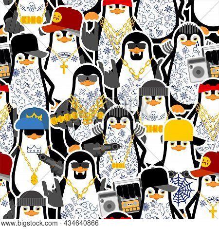 Penguin Mafia Gang Gangsta Pattern Seamless. Angry Seabird Bully Member Of Gang Of Street Criminals.