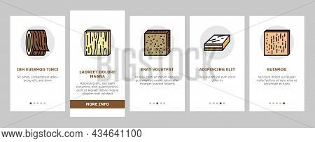 Timber Wood Industrial Production Onboarding Mobile App Page Screen Vector. Fiber Board And Round Wo