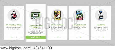 Detergent Organic Laundry Soap Onboarding Mobile App Page Screen Vector. Detergent Gel Container And